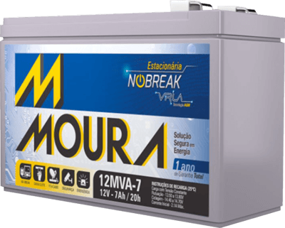 Bateria 12v 7ah Moura para Nobreak e alarme