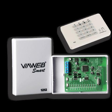 Receptor smart 1212 e teclado de alarme 16s viaweb system